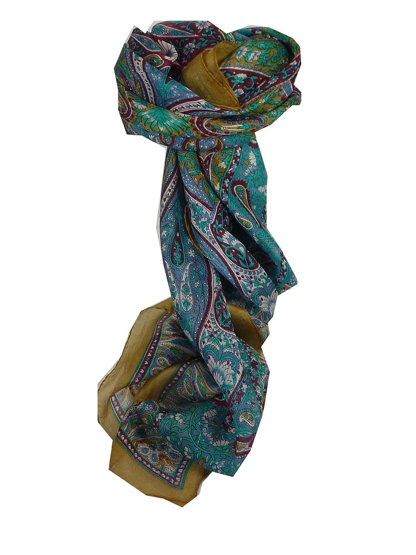 Guyan Square Caramel Traditional Silk Scarf by Pashmina & Silk