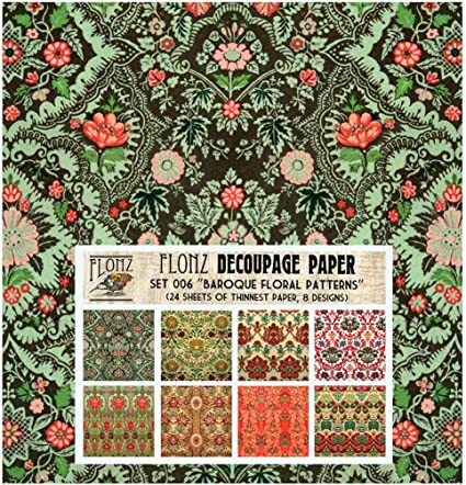 24 Sheets 6x6 Floral Patterns FLONZ Vintage Styled Paper for Decoupage and Craft Decoupage Paper Pack