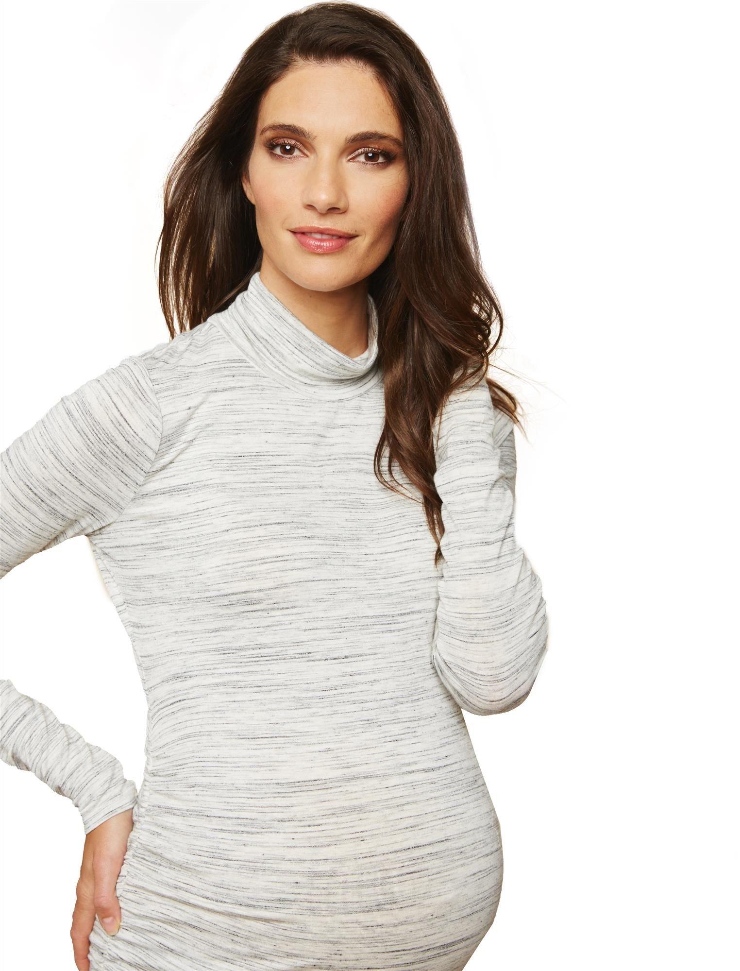 Motherhood Maternity Women's Maternity Long Sleeve Side Ruche Turtleneck Knit Top, Grey Space Dye, Medium by Motherhood Maternity (Image #1)