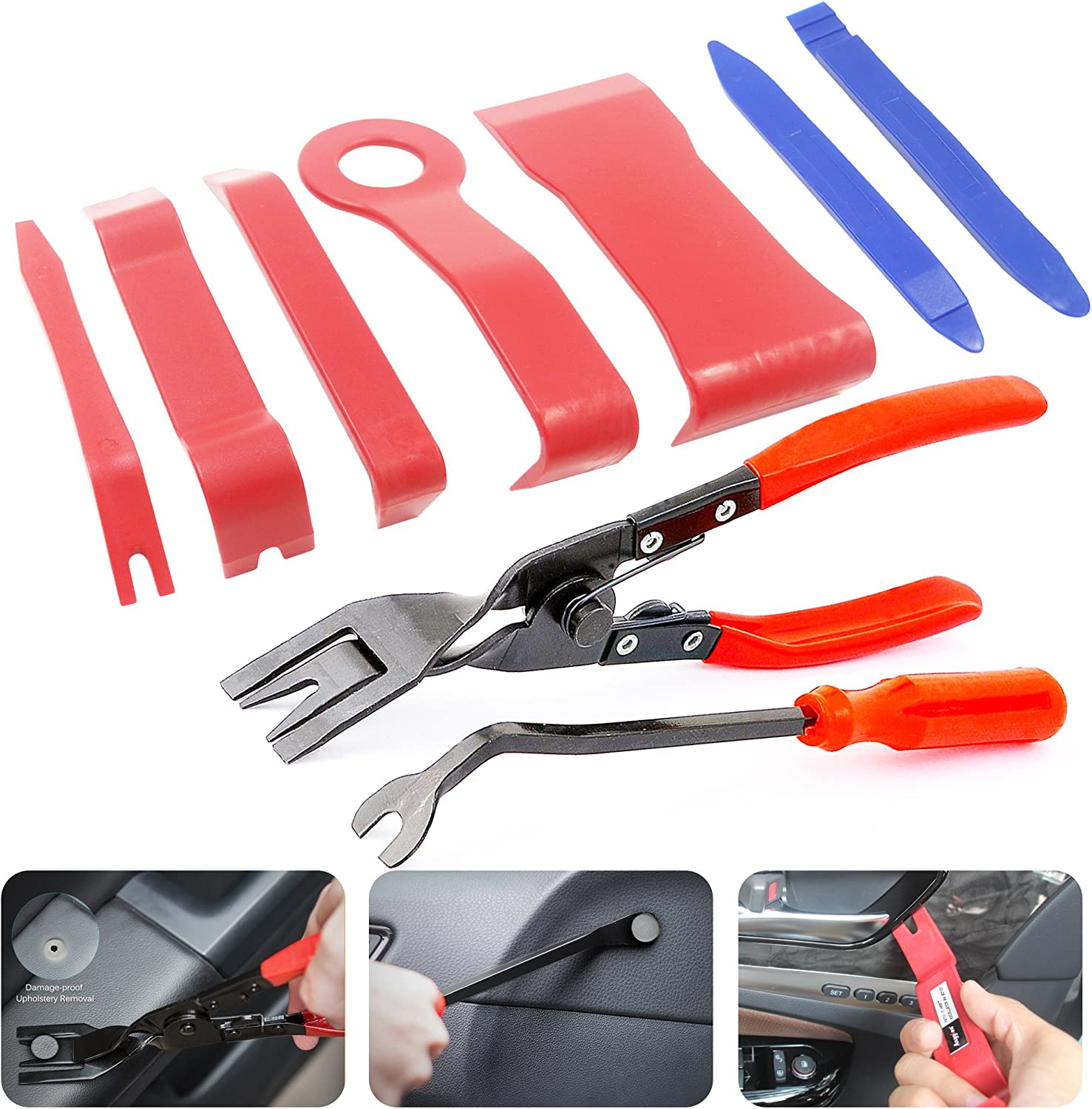 Anyyion Auto Panels Trim Removal Tool 9Pcs Trim Tool for Door Panel Removal Tools or Auto Upholstery Tools or Clip Plier Set (9 PCS)