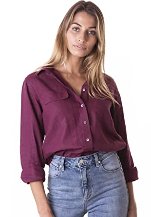 f001cf5951 CAMIXA Womens 100% Linen Button Down Shirt Casual Basic Blouse Pockets  Loose Top XS Bordeaux
