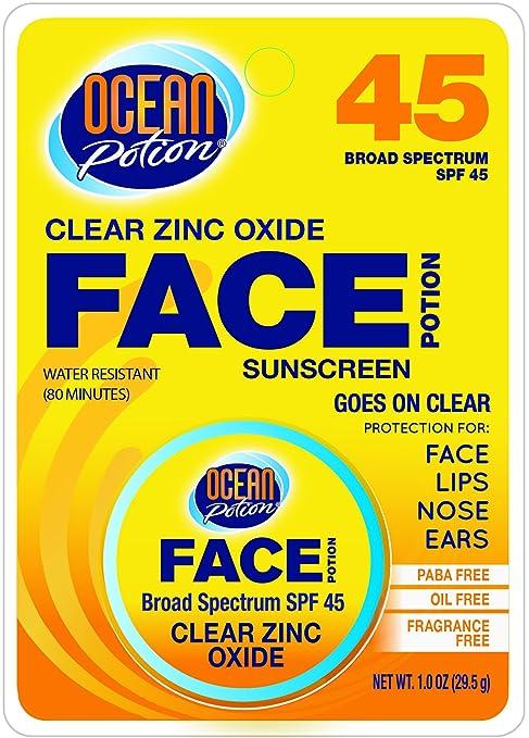 Ocean Potion Spf45 Face Zinc Oxide Clear 1 Oz. (3-pack)
