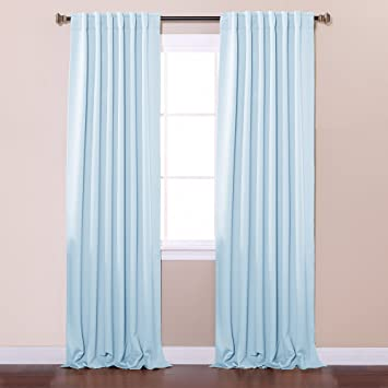 Best Home Fashion Thermal Insulated Blackout Curtains   Back Tab/ Rod  Pocket   Sky Blue