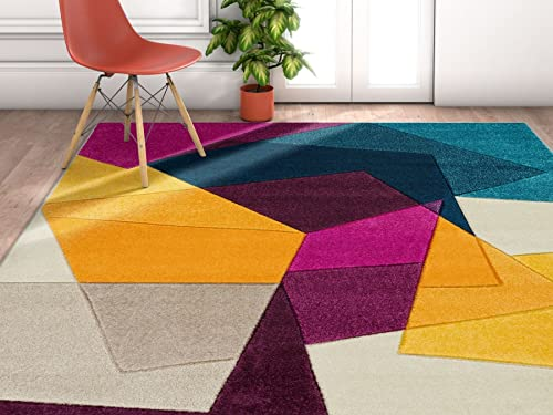 Well Woven Violet Bombay Modern Geo Shapes 5 3 x 7 3 Area Rug