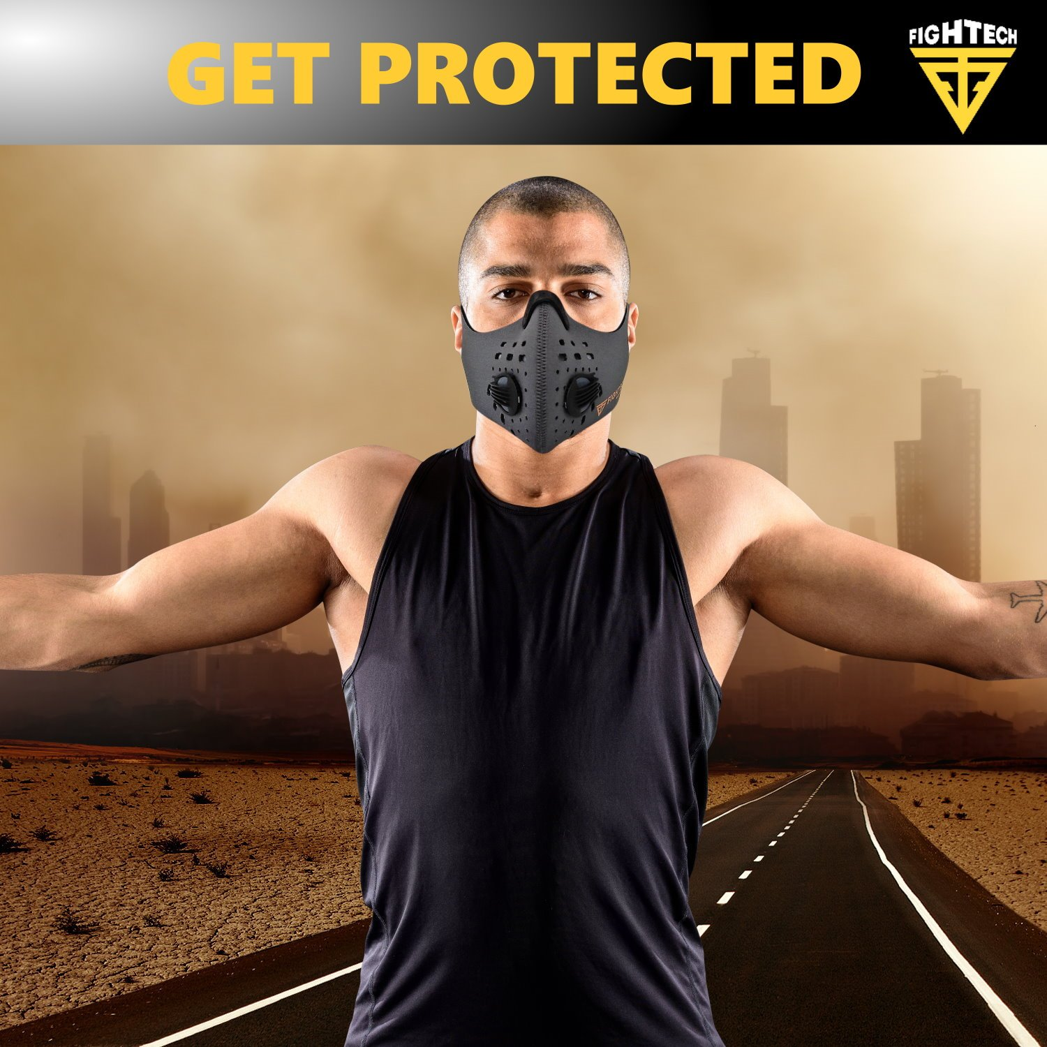 N99 Dust Mask by FIGHTECH with 4 Activated Carbon N99 Filters & 2 Air Valves. Dustproof Respirator Face Mask Protects from Dust, Allergy and Pollution. Good for Woodwork and Outdoor Activities (GRY) by FIGHTECH (Image #6)