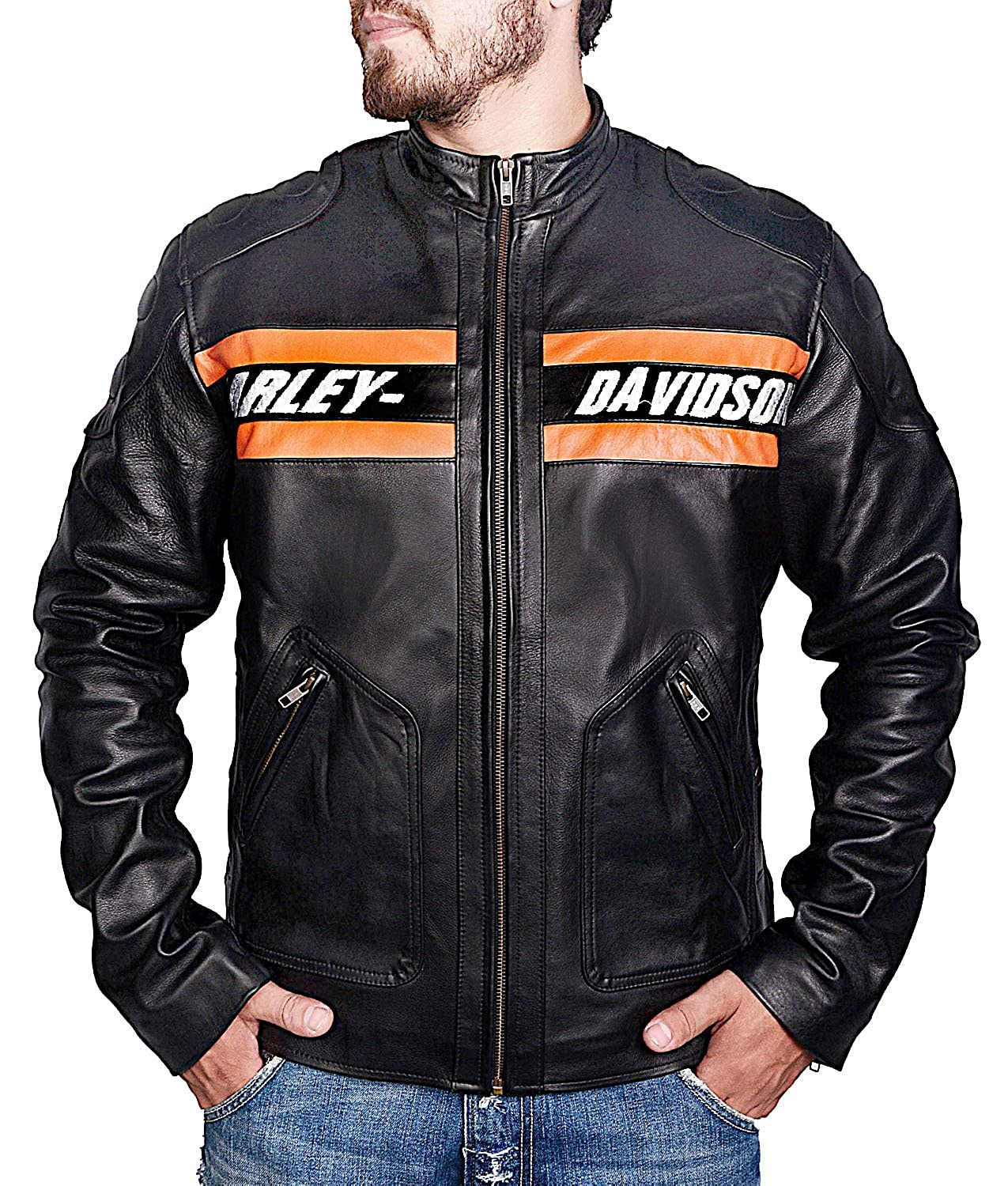 Bill Goldberg WWE Harley Davidson Motorcycle Vintage Biker Real Leather Jacket The Custom Jacket