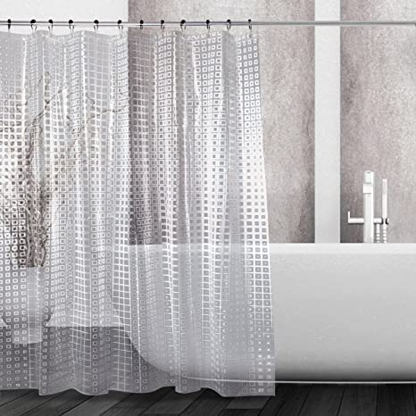 Kilokelvin Water Repellent 3D EVA Shower Curtain Mold And Mildew Resistant Liner With 12 Metal