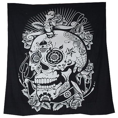 Tapiz Raajsee de algodón indio con diseño de mandala color negra y blanca para colgar en la pared, 220 x 230 cm, algodón, calavera, 220*240