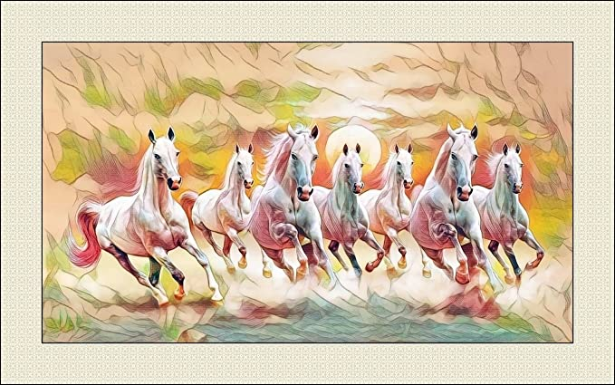 Large Size Seven (7) Horses Painting Multi Colour (Horses are Going in Right Direction as per Vastu & Fengshui) with Frame on 410 GSM Canvas -Size 30x20 inch