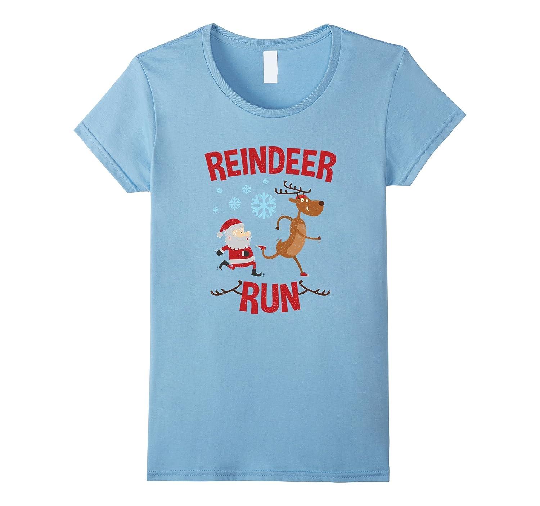 Womens Reindeer Run Christmas Running Shirt-ANZ - Anztshirt