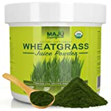 MAJU's Organic Wheatgrass Juice Powder - Oregon Grown, no Cut-Grass Taste, Raw, non-GMO, Easily Mix With Water, Kosher, Certified USDA Organic, 5.5 Ounces, Green Natural Benefits, Instant Juice