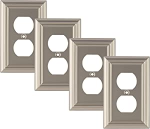 Pack of 4 Wall Plate Outlet Switch Covers by SleekLighting | Decorative Satin Nickel | Variety of Styles: Decorator/Duplex/Toggle / & Combo | Size: 1 Gang Duplex