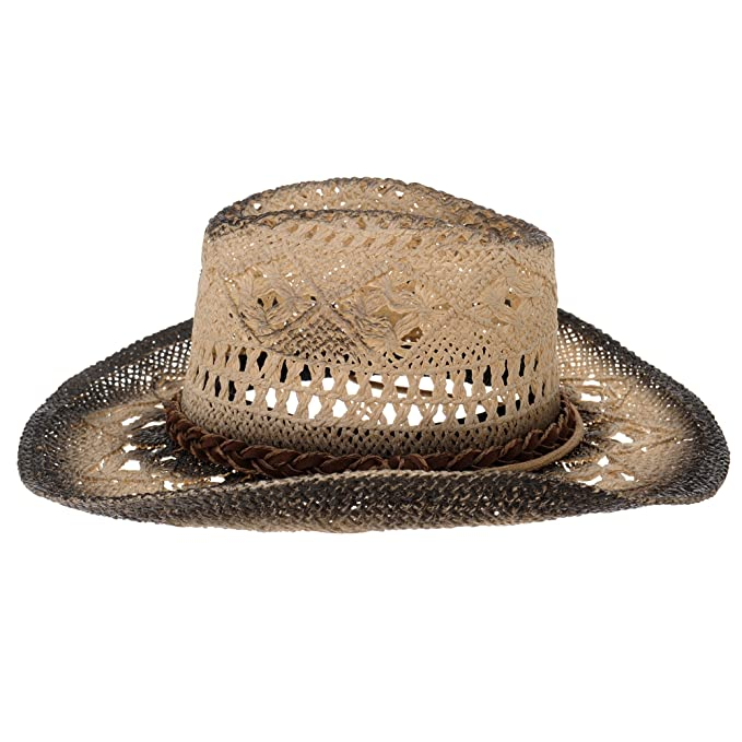 8f8e4ca90c2 WITHMOONS Western Cowboy Hat Cool Paper Straw Banded Chin Strap GN8765  (Black)  Amazon.co.uk  Clothing