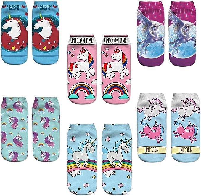Z-Chen Pack de 6 pares de calcetines Tobilleros para Mujer Dibujo ...