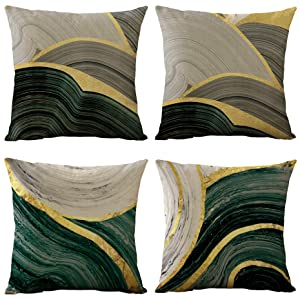 WOMHOPE Set of 4 Vintage Geometric Decorative Throw Pillow Covers Pillow Cases Cushion Cases 18 x 18 Inch for Living Room,Couch and Bed (Gold)