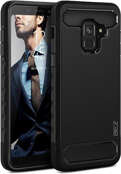 BEZ® Coque pour Samsung A8 2018, Housse Etui Antichoc Samsung Galaxy A8 2018 Robuste Double Litetection Resistante, Noir
