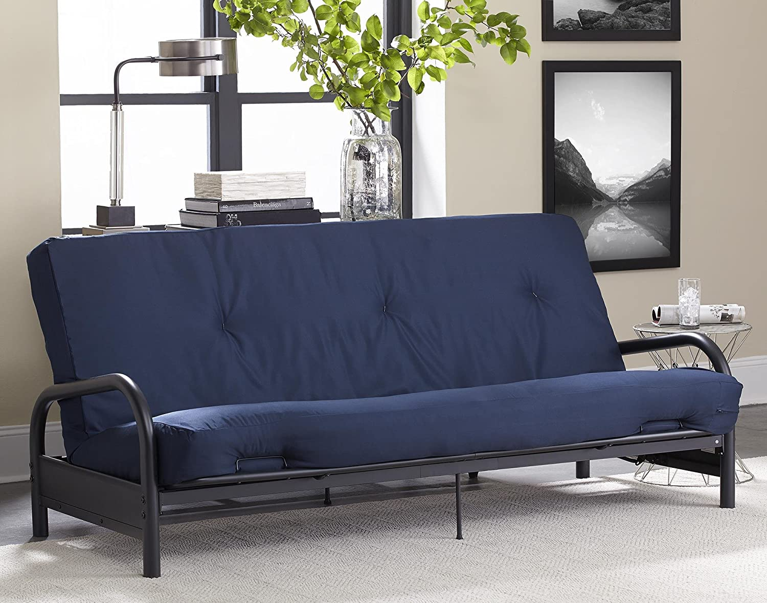 Amazon.com: DHP 8-inch Polyester Futon Mattress, Tufted Design, Full Size,  Navy: Home u0026 Kitchen