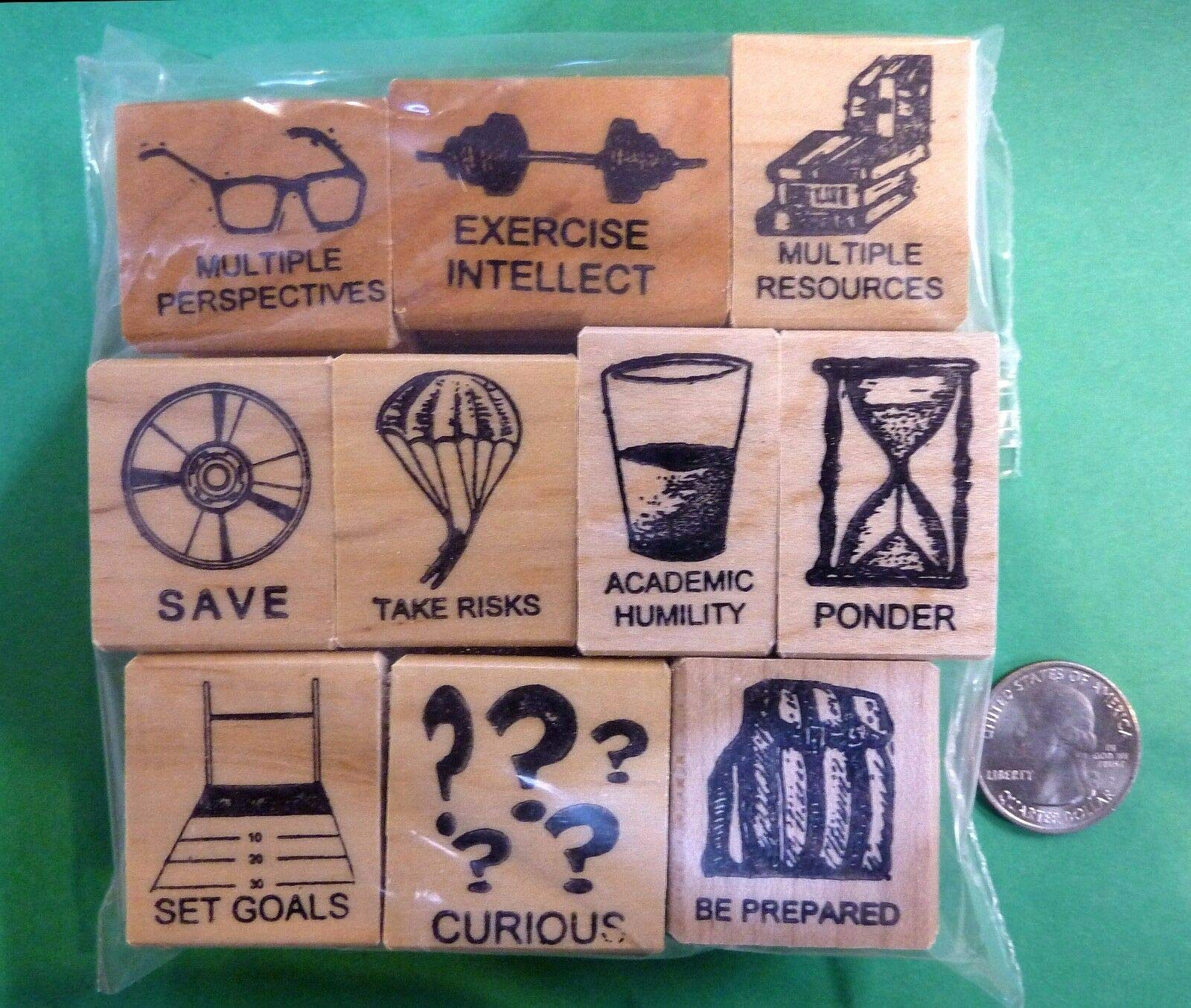 Scholarly Traits, Set of 10 Wood-Mounted Rubber Stamps