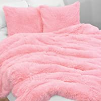 KB & Me Boho Pink Fuzzy Faux Fur Plush Duvet Comforter Cover and Sham 2 pc. Soft Shaggy Fluffy Twin/Twin XL Size Bedding…