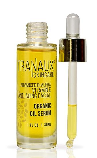 100% Organic Face Oil Serum by TraNaux Skincare - Pure Vitamin E Oil -  Reduce Wrinkles, Fine Line,