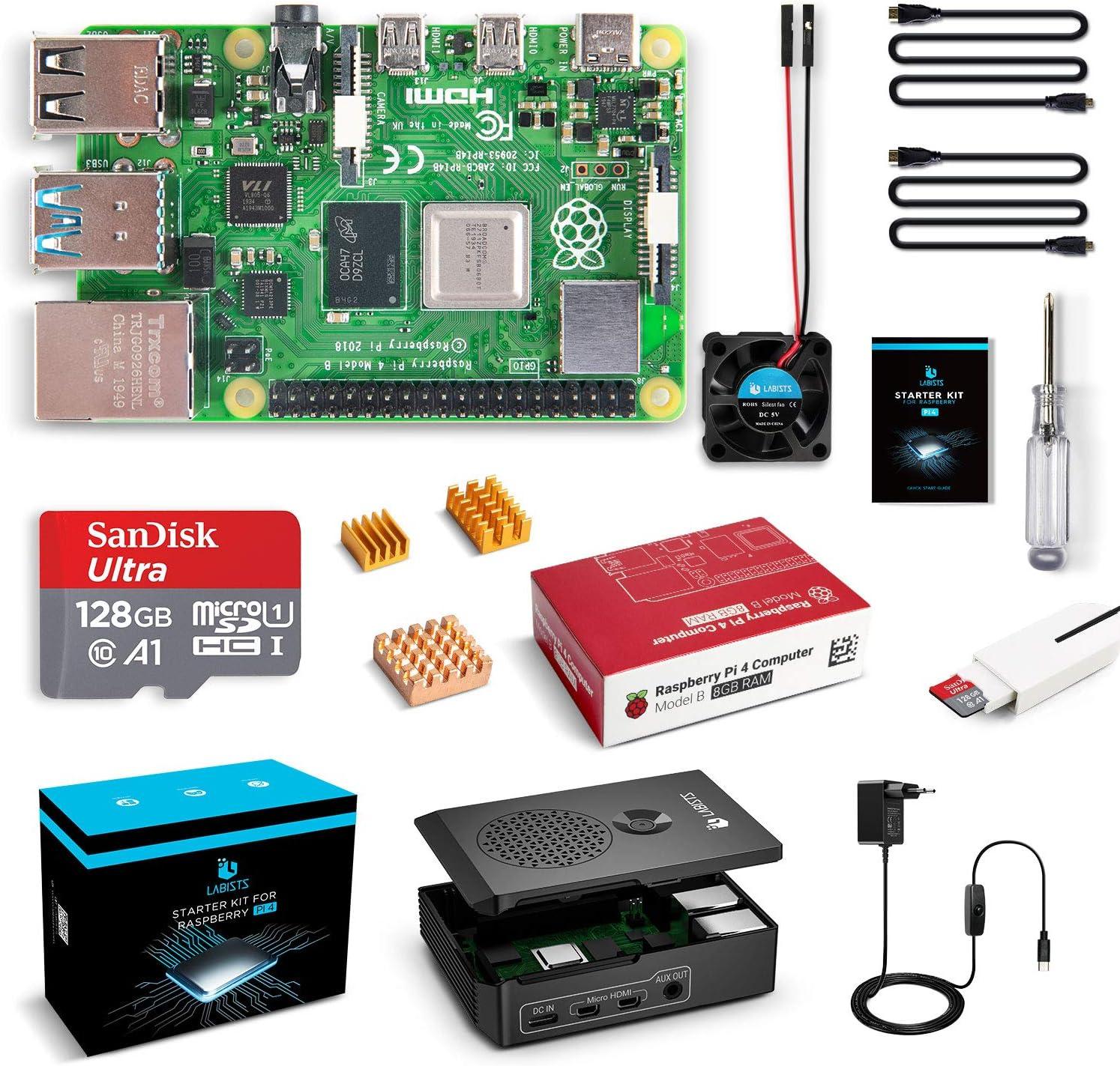 LABISTS Raspberry Pi 4 8GB Kit Incluido Tarjeta SD 128GB Precargada con Raspberry Pi OS, Ventilador, 3 Disipadores de Calor, 2 Micro HDMI, Caja y Lector de Tarjetas