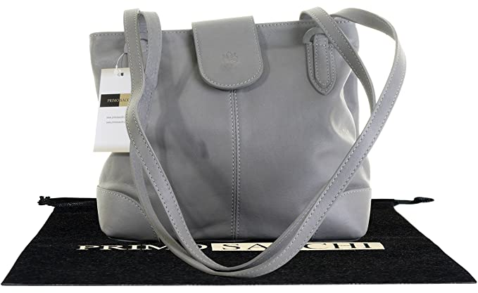Primo Sacchi Italiana suave cuero, luz gris no estructurado largo había manejado bolso o bandolera. Incluye una bolsa protectora marca.
