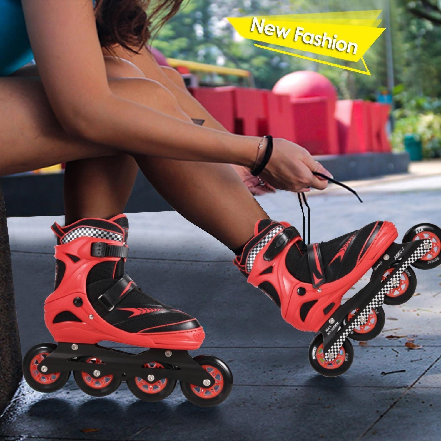 Kaluo Adjustable Inline Skates for Adults and Teens in-line roller skate blades | Non-slip wheels | for Men, Women, Boys, Girls(US Stock) (Type 2-Black&red, Type 2-L-US 5-8)