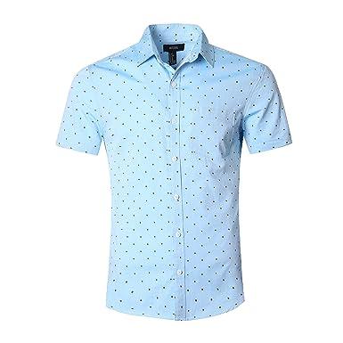 5abb35d60a8 NUTEXROL Men s Regular-Fit Short-Sleeve Oxford Shirt Button Down Collar  Dress Shirts Blue green