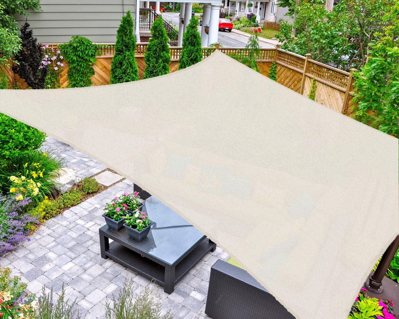 AsterOutdoor Sun Shade Sail Rectangle 12' x 16' UV Block Canopy for Patio Backyard Lawn Garden Outdoor Activities, Cream