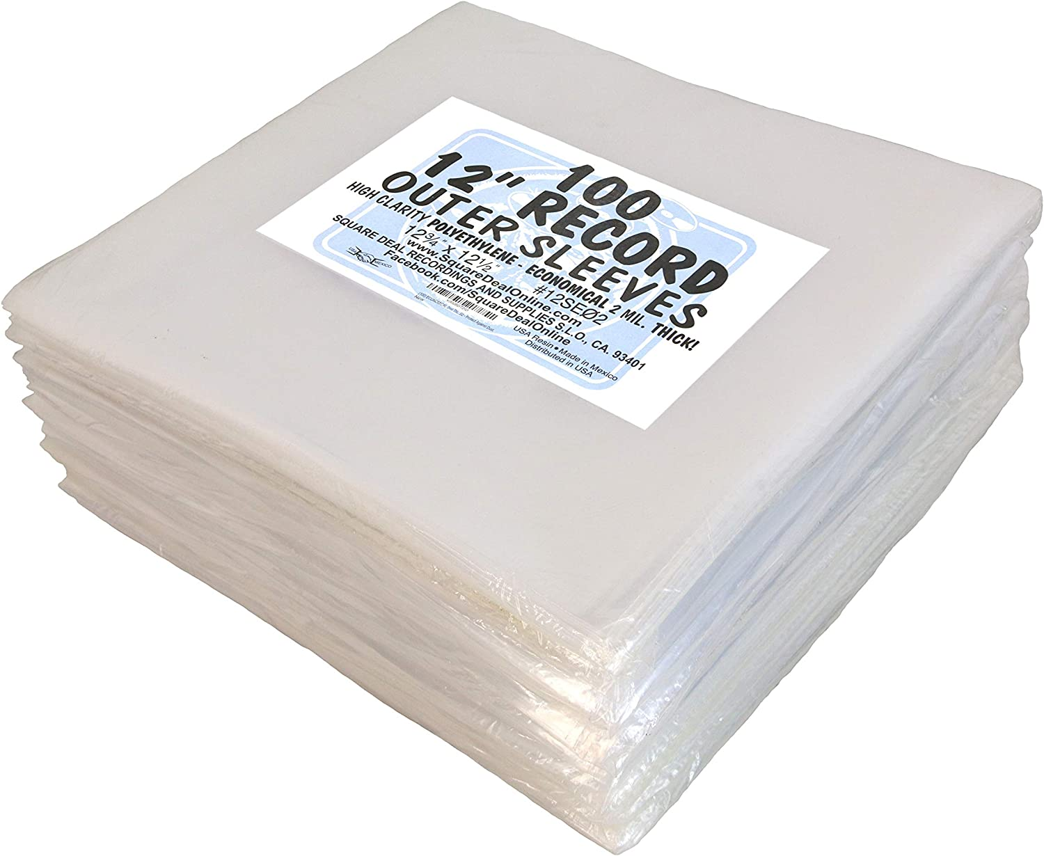 """(1000) 12"""" ECONOMICAL Record Outer Sleeves - 2mil Polyethylene - 12 3/4"""" x 12 1/2"""""""