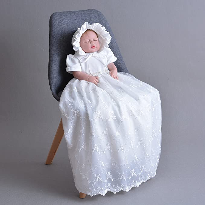 Cinda Baby Boys Christening Gown,Waistcoat and Hat White