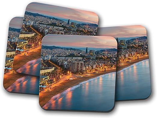 Juego de 4 posavasos Barcelona City Coastline – España vacaciones viaje Cool regalo #14928: Amazon.es: Hogar
