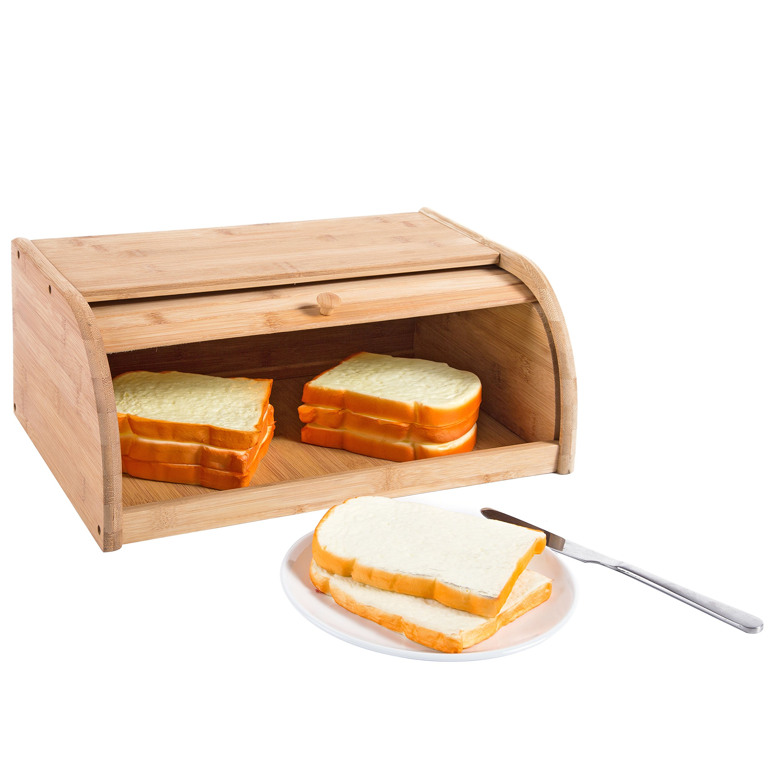 16 inch Kitchen Natural Wooden Bamboo Rolltop Bread Box Food Storage - MyGift by MyGift (Image #5)