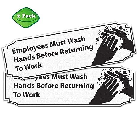Amazon.com: Los empleados deben lavar las manos antes de ...