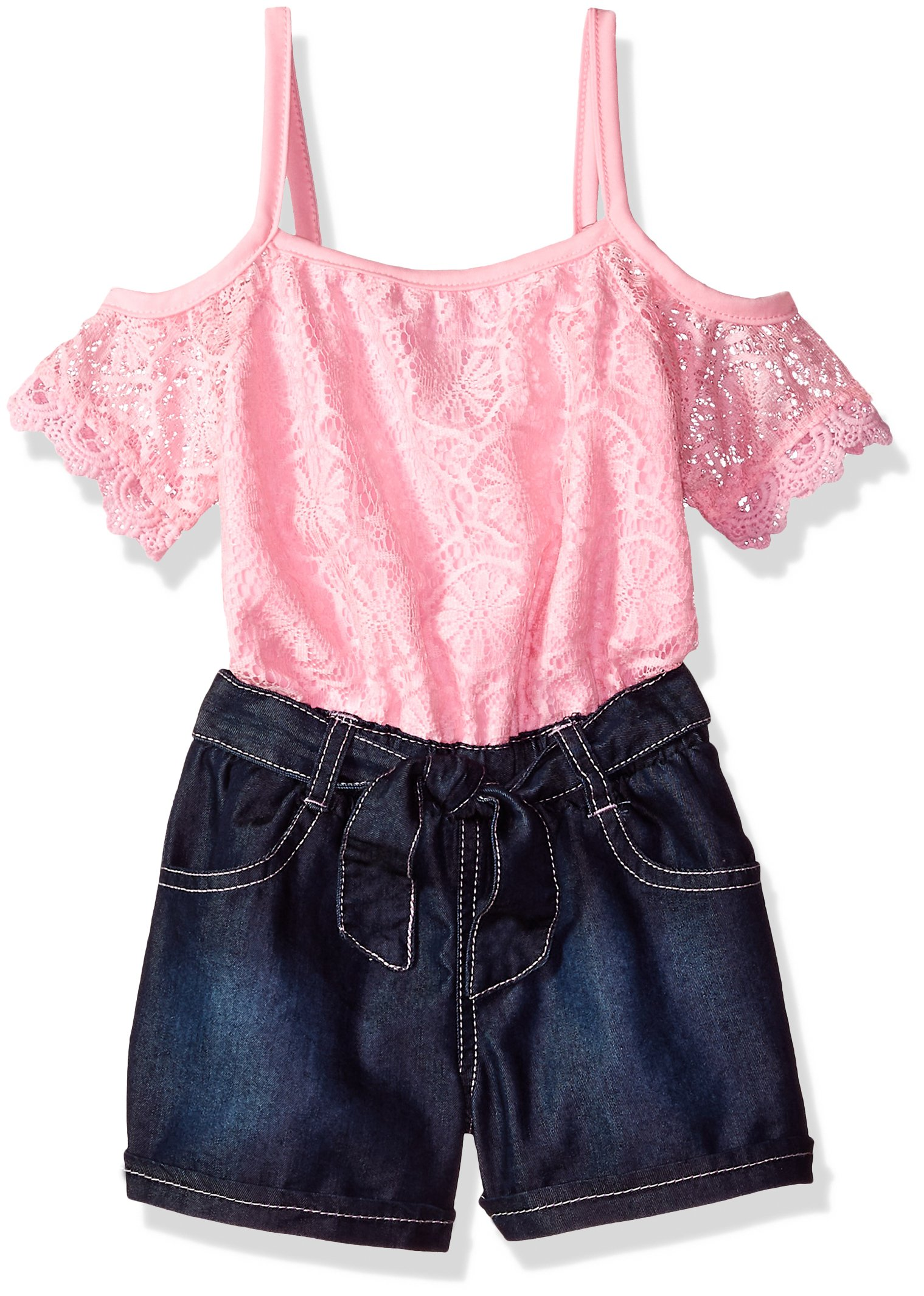 Limited Too Little Girls' Romper, Scallop Lace Edge Trim on Sleeves Light Pink, 4