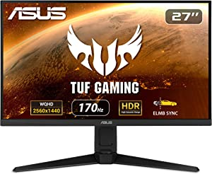 "ASUS TUF Gaming VG27AQL1A 27"" HDR Monitor, 1440P WQHD (2560 x 1440), 170Hz (Supports 144Hz), IPS, 1ms, G-SYNC Compatible, Extreme Low Motion Blur Sync, HDR400, 130% sRGB, Eye Care, HDMI DisplayPort"