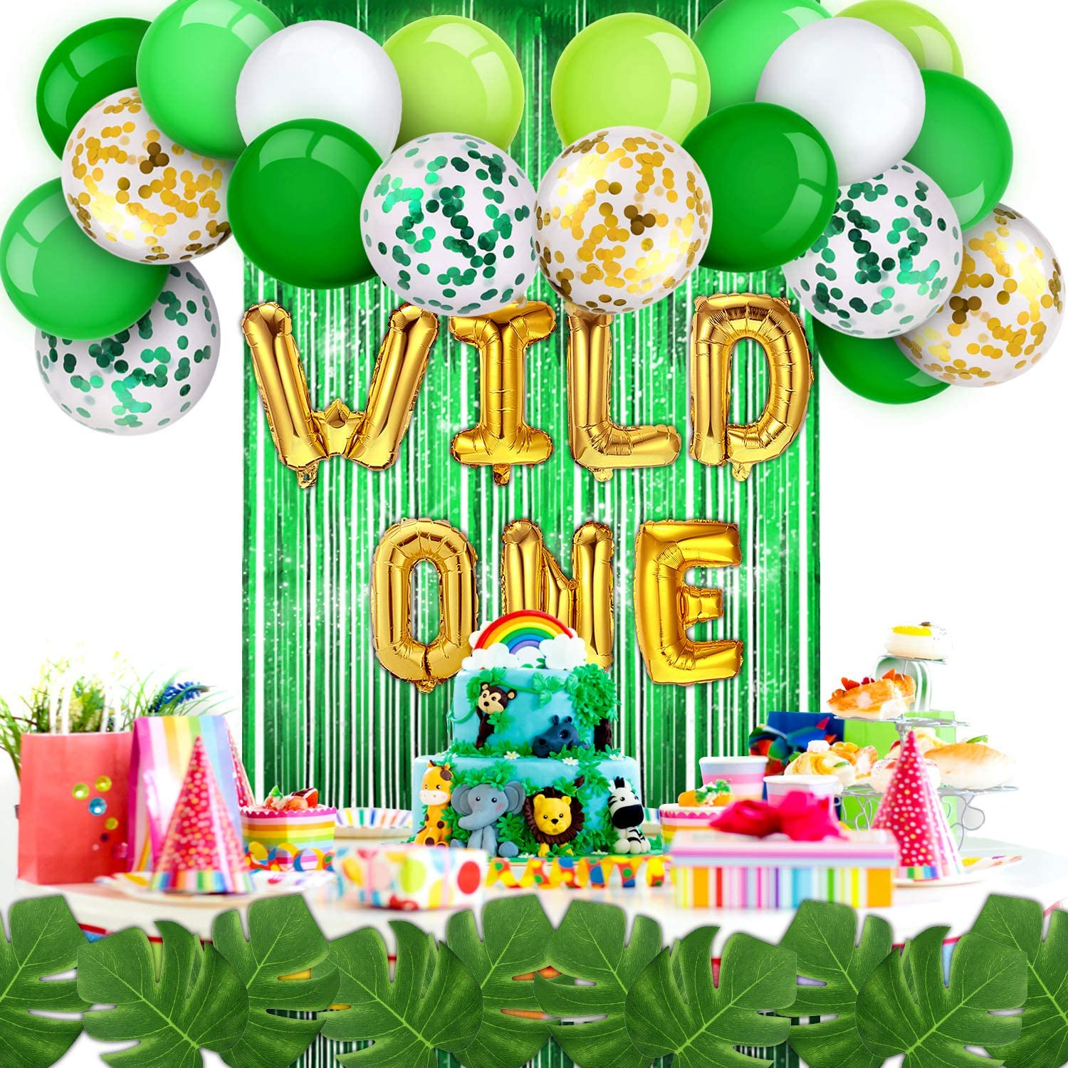 Wild One Balloons include Green Foil Fringe Curtain Palm Leaves Latex Balloons Confetti Balloons Adhesive Dots and Strip Tape for Party Supplies Birthday Decorations Set