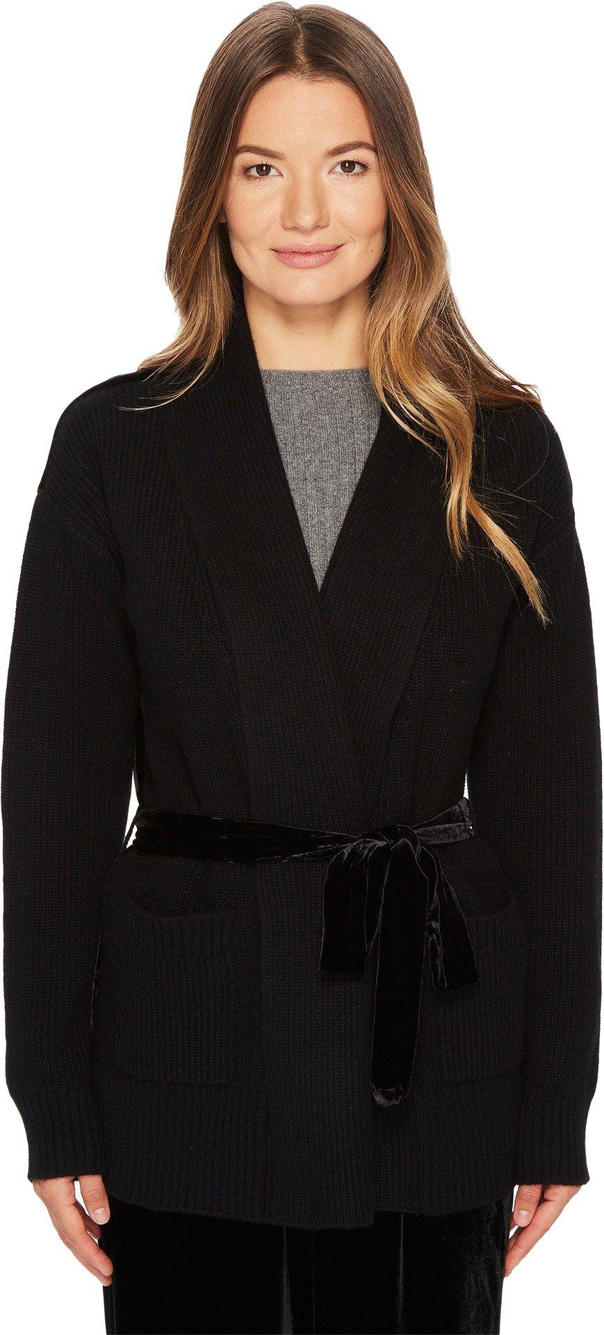 Cashmere In Love Women's Tracy Cardigan with Velvet Back Black/Black Silk Velvet Small