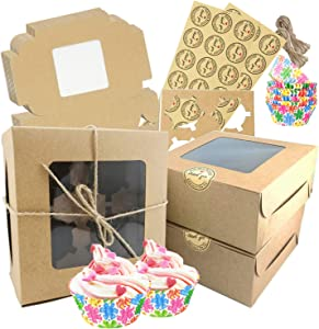 Free-Air 30pcs Cupcake Boxes, Kraft Muffin Cup Cake Containers Carriers with Window and Insert 4 Holder,Pastry Cookie Gift Box for Party Valentine's Day Bakery