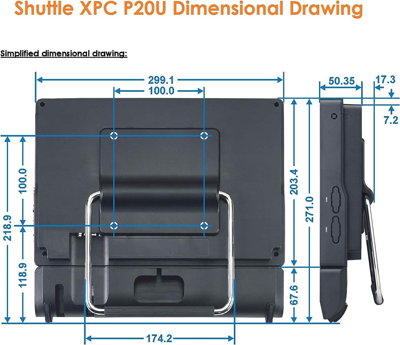 Shuttle XPC AIO P20U 11.6 All-in-One Barebone PC Intel Celeron 3865U Kabylake Fanless IP54 Certified No RAM No HDD//SSD No OS