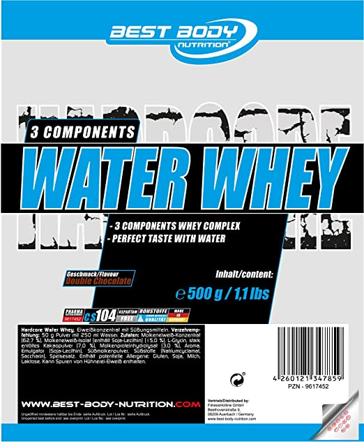 Amazon.com: Best Body Nutrition 500g Hardcore Water Whey Double Chocolate: Health & Personal Care