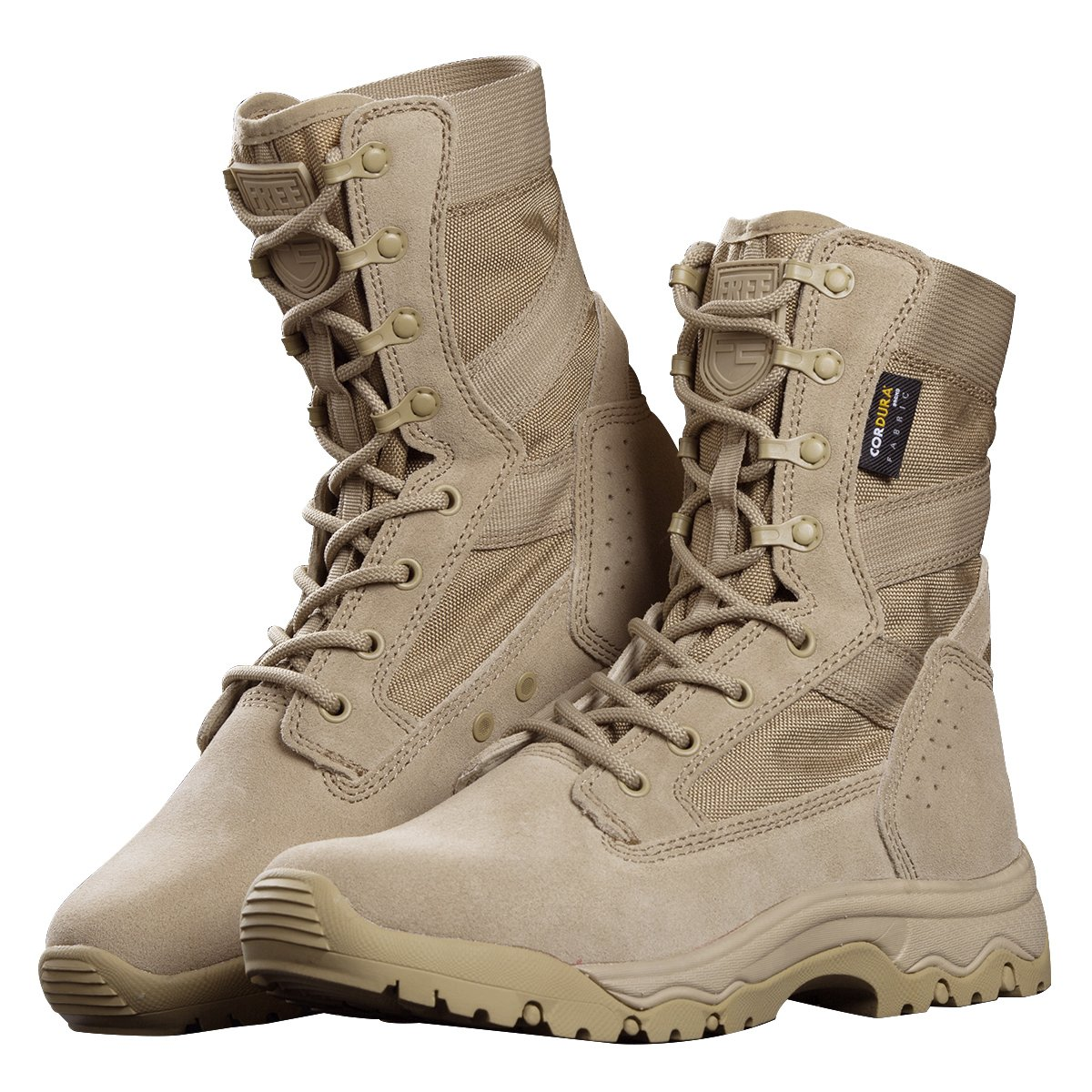 FREE SOLDIER Men's Tactical Boots 8'' inch Lightweight Combat Boots All Terrain Suede Leather Military Work Boots (Tan, 10.5 US)