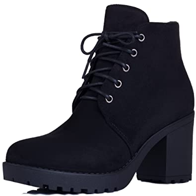 c9dc0f069ef Lace Up Block Heel Ankle Boots Shoes Black Suede Style Sz 3