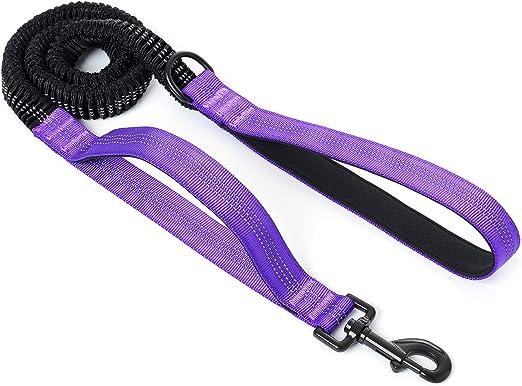 Mile High Life | 4Feet- 7Feet Dog Bungee Walking Leash w Control Handle | Reflective Gentle Pull Training Lead | Soft Padding w Dog Poop Bag Holder Ring