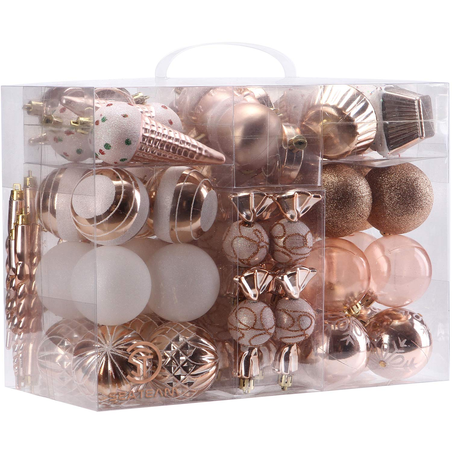 Sea Team 80-Pack Assorted Shatterproof Christmas Ball Ornaments Set Decorative Baubles Pendants with Reusable Hand-held Gift Package for Xmas Tree (Rose Gold)