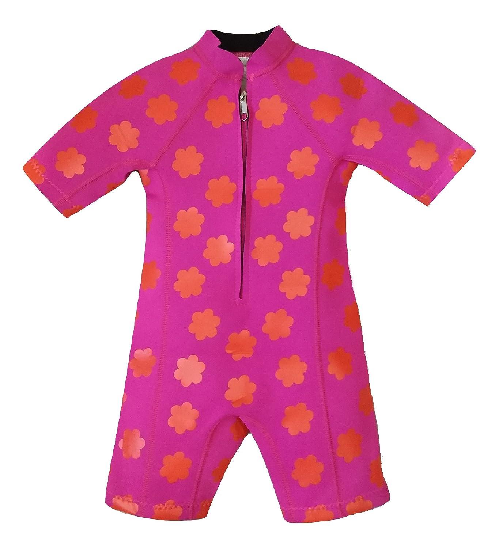 Baby children girl neoprene wetsuit swim suit newborn to 5 years kids toddler fushia pink IndigoKids