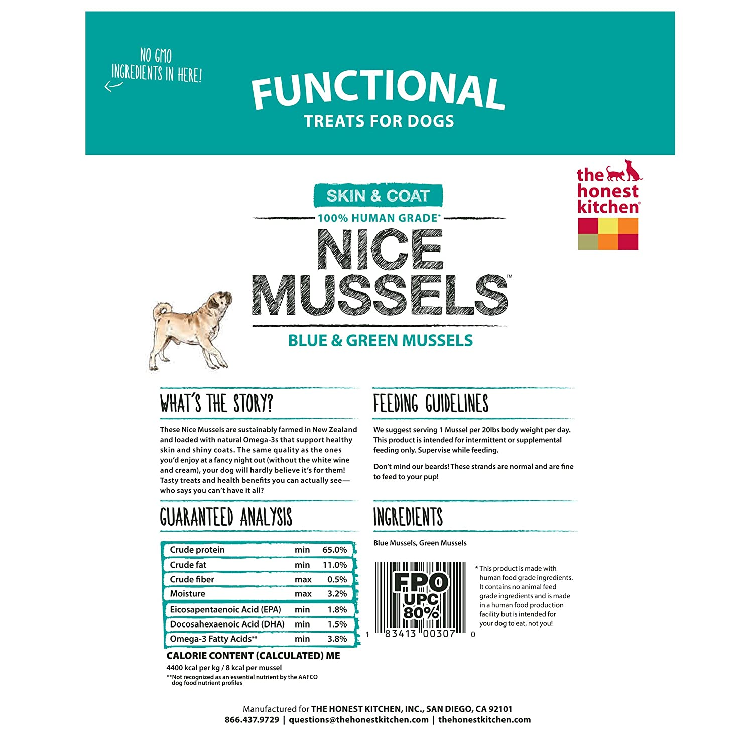 Amazon.com : Honest Kitchen The Nice Mussels Dog Treats - Natural ...
