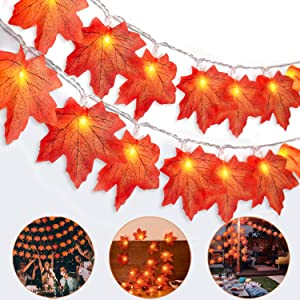 Maple Leaves String Light 20LED 6.6FT Battery Powered Fall Garland Lights Decor,Twinkle Hanging Lighting Decorations for Indoor Outdoor Fall Decor Halloween Thanksgiving Christmas Party Decorations
