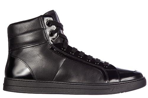 Prada Scarpe Sneakers Alte Uomo in Pelle Nuove Plume Spazzola Nero   Amazon.it  Scarpe e borse 17a1b55abb6