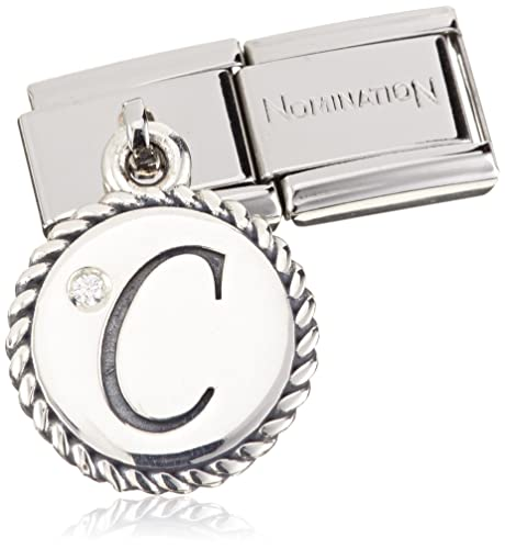 Nomination Women s Charm Letter C 925 Silver Oxidized Stainless Steel-White  Zirconia - 031715 03  Amazon.co.uk  Jewellery 510ba72cc